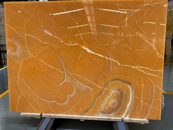 Dark Orange Onyx slabs