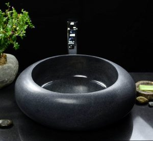 Dark Grey granite round sinks