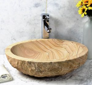 Sandstone Sinks by split beige sandstone