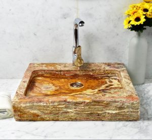 Travertine Rectangle Sink by multicolor travertine