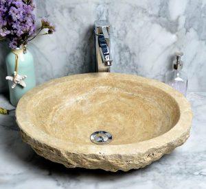 Travertine Round Sink by beige travertine