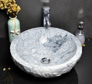 White marble sink split back