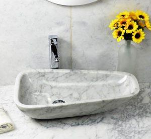White marble sinks by Bianco Carrara