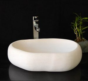 White marble sinks pure white
