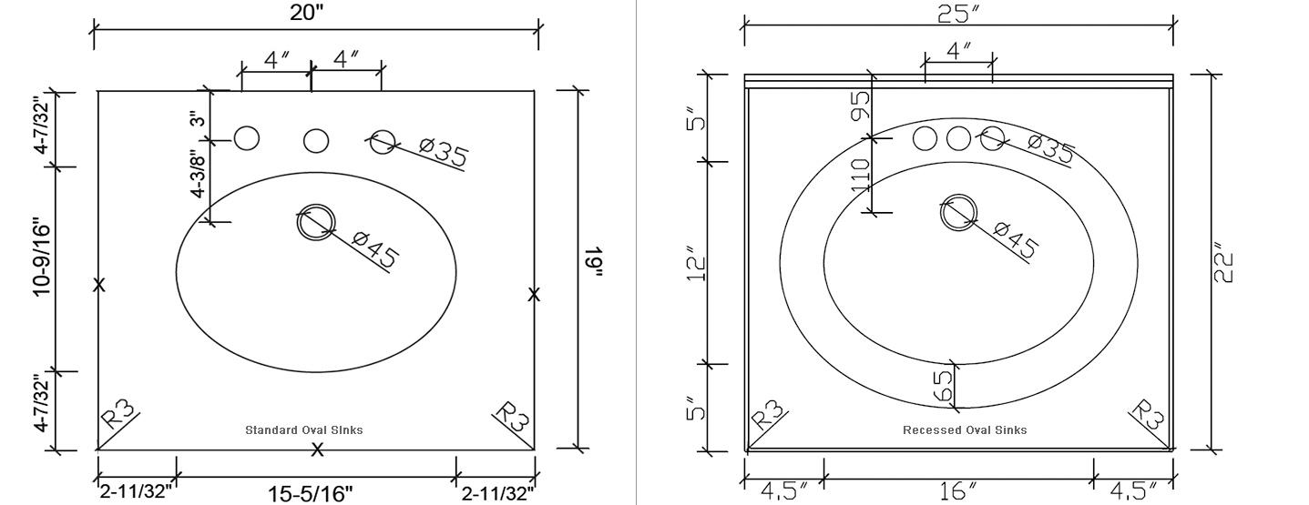 Standard Vanity Tops and Recessed sinks