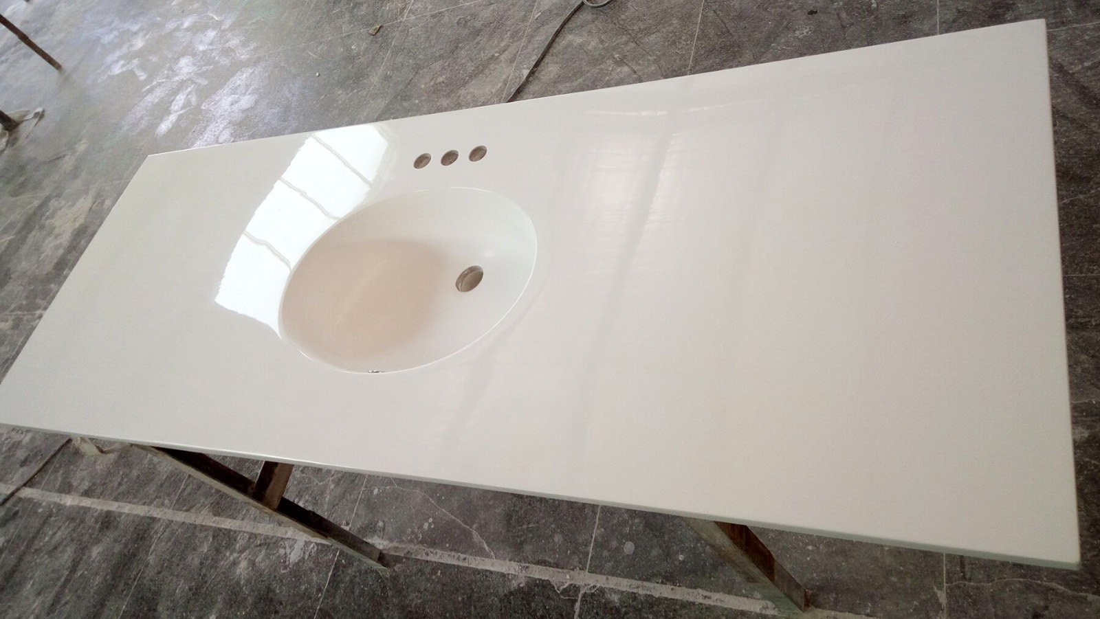cultured marble vanity top with oval integral sink
